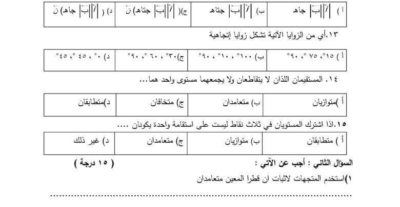 صورة رياضيات – نماذج اختبارات  نهاية الفصل الأول في الرياضيات للصف الحادي عشر علمي ف1