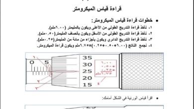 Photo of ورقة عمل مختصة في قراءتا قياس الميكروميتر والورنية – مادة الفيزياء للصف العاشر