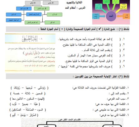 صورة أسئلة رائعة وشاملة لكافة دروس التلاوة والتجويد للصف الثامن الفصل الأول