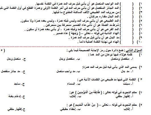 صورة [تربية إسلامية] إمتحان هام في التلاوة والتجويد للصف السادس الفصل الأول