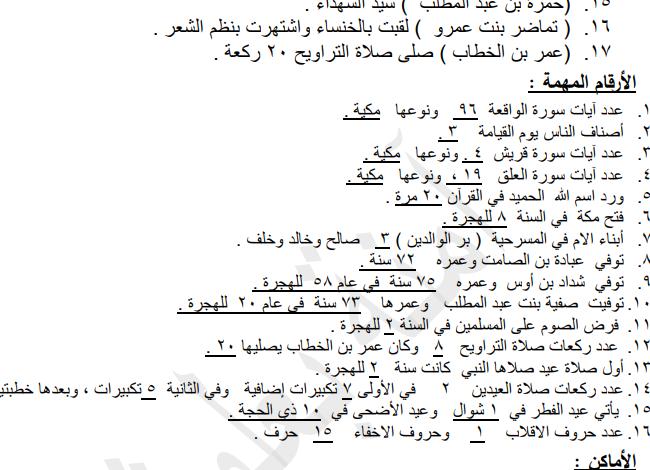 صورة ( دين ) ملخص الشخصيات والمصطلحات في مادة (التربية الإسلامية) – (للصف الخامس 5) الفصل الثاني