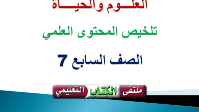Photo of تلخيص شامل للمحتوى العلمي لمادة ( العلــوم والحيـــاة) الصف السابع الفصل الثاني