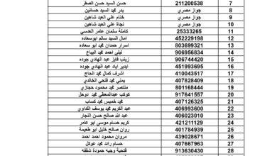 صورة كشف أسماء المسافرين المقرر مغادرتهم قطاع غزة عبر معبر رفح يوم الخميس الموافق  2020/8/13