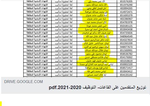 صورة تابع توزيع المتقدمين على القاعات لوظيفة معلم وكالة – التوظيف 2020 م -2021م