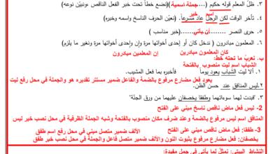 صورة حلوول الدروس 4 – 6 من المادة الاستدراكية للغة العربية – الصف الرابع