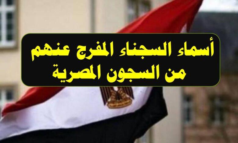 صورة أسماء السجناء المفرج عنهم من السجون المصرية